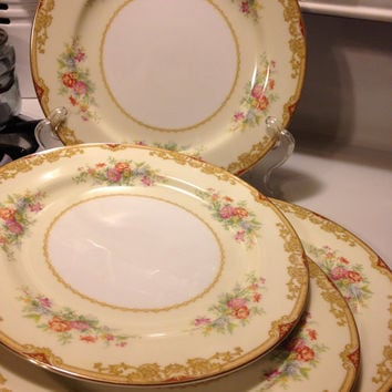 Noritake Japan Topaze 653 Dinner Plates Set of 4 10 Inch Vintage 1930s Lightly Used Gold Trim