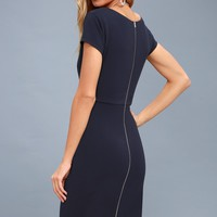 Business of Love Navy Blue Bodycon Midi Dress