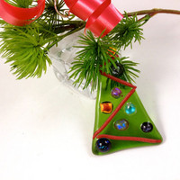 Christmas Tree Ornament Dichroic Fused Glass Decoration Xmas Tree Trimming multi color 222