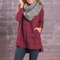 By The Fire Button Up Top, Burgundy