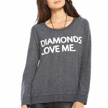 Chaser LA Diamonds Love Me Long Sleeve Panel Tee in Coal