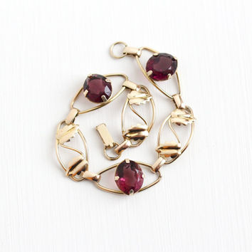 Vintage 12k Rosy Yellow Gold Filled Simulated Amethyst Bracelet - 1940s Oval Purple Glass Stone Leaf Vine Foliage Statement Jewelry