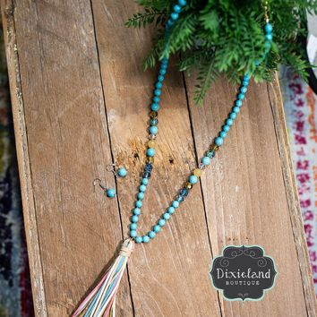 Turquoise multi colored tassel necklace