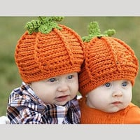 Lovely Newborn Baby Boys Girls Cute Pumpkin Cap Handmade Knitted Crochet Hat Halloween Costume Photography Prop Gift Children