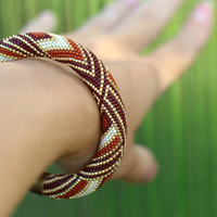 Bead Crochet Bracelet modern minimalism geometric pattern terracotta brown gold beige stylish fashionable rusteam bracelet for women