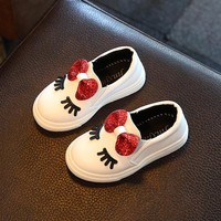 Kids Girls Autumn Shoes With Bow Fashion Sneaker Children Baby Girl Casual Sport Shoes