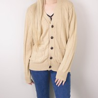 Vintage 90s Beige Knit Cardigan Sweater