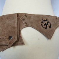 Festival Utility belt Steampunk hippie psytrance style in Light Brown Suede - Pixie OM Model