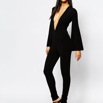 Rare London Plunge Cape Detail Jumpsuit