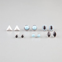 Full Tilt 6 Pairs Southwestern Stud Earrings Silver One Size For Women 23728514001