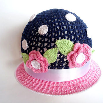 Girls sun hat Baby summer hat Crochet summer hat Baby hats Crochet baby hat with flower Beach hat Wide brim hat Blue end pink hat