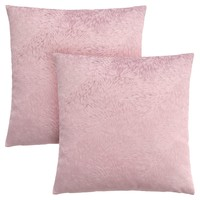 "Pillow - 18""X 18"" / Light Pink Feathered Velvet / 2Pcs"