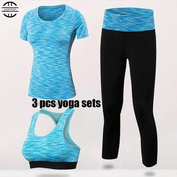 Quick Dry Yoga Set 3 PCS Workout Tight Sexy Top Sport Suit Gym Running Shirt legging Pants Sport Bra Women's tracksuit