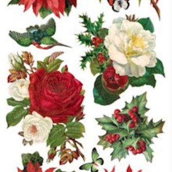 Victorian Christmas Roses and Poinsettias Stickers