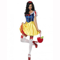 For Purim Adult Snow White Costume Carnival Halloween Costumes For Women Fairy Tale Cosplay Female Fancy Dress Plus Size