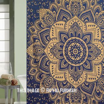 Blue  Gold Passion Mandala Shower Curtain on RoyalFurnish.com