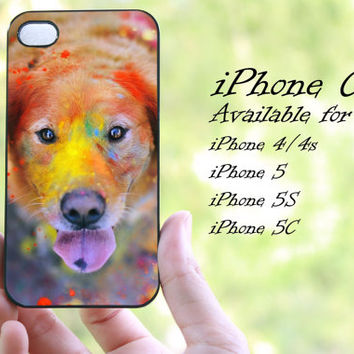 colorful dog watercolor design iphone case for iphone 4 case, iphone 4s case, iphone 5 case, iphone 5s case, iphone 5c case