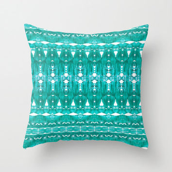 Aqua patterned pillow, turquoise summer indoor or outdoor home decor, indie bedroom gift for her, contemporary tie die look bohemiam cushion