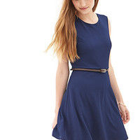 FOREVER 21 Textured Knit Skater Dress Navy
