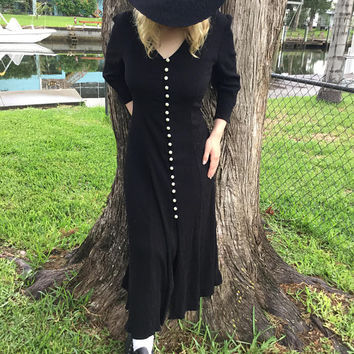 Black Magic 90's Maxi Dress Witchy Woman White Pearl buttons Drawstring back M.S. Apparel Size 9 10