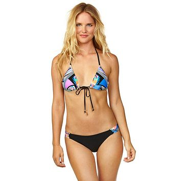 Good Vibes Front Tie Bikini Top - Party All Night Print
