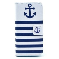 """Fashion Anchor pattern Fashion PU Leather Wallet Flip Protective Skin Case with Stand with Credit Card Slots Holder For iphone5/5S Case (Package includes: 1 X Screen Protector and Stylus Pen image""""Gift_Source"""")"""