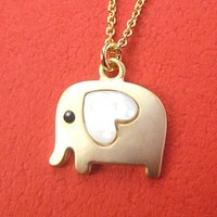 Elephant Animal Pendant Necklace in Gold with Heart Shaped Ears