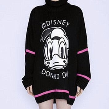 Printing love stick cloth embroidery MIDI knitting a sweater dress Black