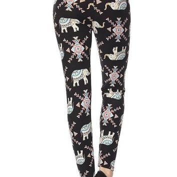 elephant print brushed ankle leggings