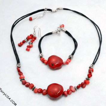 Coral Necklace Coral Jewelry Set  Coral Bracelet  Coral Earrings