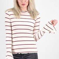 Striped Ruffle Hem Smocked Knit Top {Ivory/Deep Red}