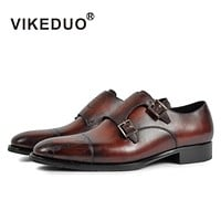 Vintage Retro Designer Fashion Luxury Dance Party Wedding Male Dress Shoe Genuine Leather Men's Monk Shoes