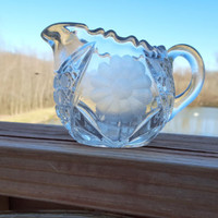 Vintage Pressed Glass Creamer Pitcher Clear Glass
