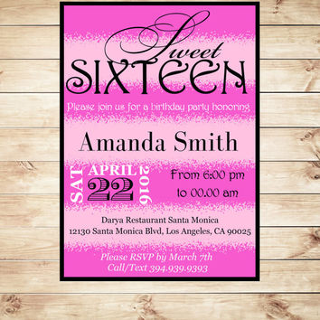 Hot Pink and Black Sweet 16 Birthday Invitations Digital Download,sweet sixteen birthday invitations Editable in PDF, Art Party Invitation
