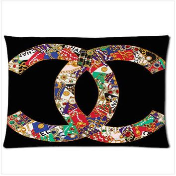 Chanel Vintage zippered pillow case two side picture size 18'' x 26''