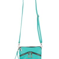 Faux Zipper Front Wristlet Or Crossbody Bag