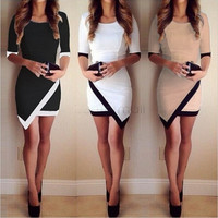 Women Fashion Half Sleeve Ladies Asymmetric Casual Dress White & Black Patchwork Elegant Dresses Bodycon Pencil Short Mini Dress party dress = 1932611268