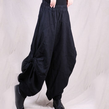 2017 New Spring Autumn Casual Solid Wide Leg Pants Loose Pleated Cotton Linen Bloomers Vintage Women Pantalettes 3colors