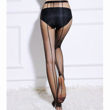 Female 1 Pair Backside Line Sexy Tattoo Stockings Pantyhose Tights Tigh Women Lady Girl Fashion Sexy Tights Good Quality