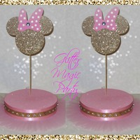 Minnie Mouse Light Pink and Gold Head - Lollipops or Cakepops Stands - Minnie Mouse Party Decoration - Minnie Mouse - SET OF 2 STANDS