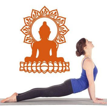 Lotus Pose Buddha and Sun Decal Wall Art Sticker