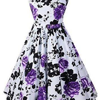 Penelope Vintage Hepburn Style 1950s Floral Rose Pattern Swing Circle Party Dress