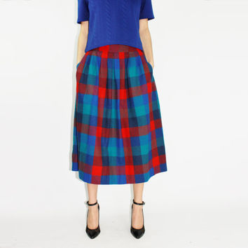 60s pendleton skirt blue plaid skirt preppy skirt retro skirt circle skirt bright plaid full skirt mid-century skirt MEDIUM M