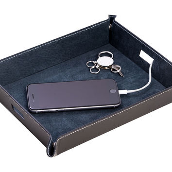 Leather Valet Tray, Black, Other Jewelry & Storage Accessories