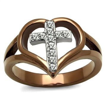 Ion Plated Coffee Stainless Steel & CZ Cross Ring