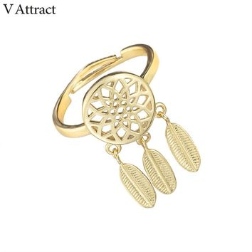 V Attract Boho Jewelry Ethnique Dreamcatcher Charm Wedding Ring for Women Adjustable Rose Gold Lord Of The Rings Best Friend