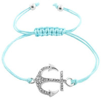 Tiffany Blue and Silver Anchor Bracelet- Adjustable String Bracelet