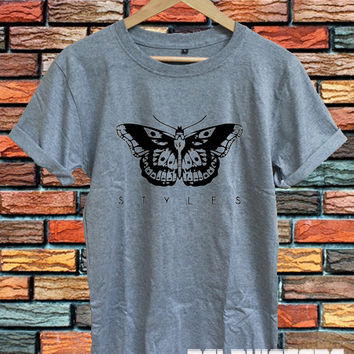 one direction shirt 1D t-shirt harry styles tattoo t-shirt sport grey printed unisex size (DL-58)