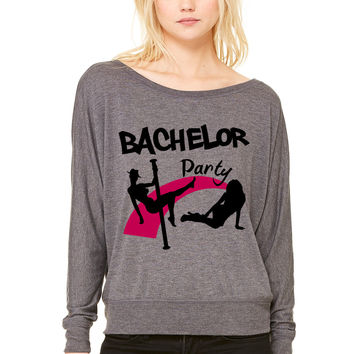 bachelor party WOMEN'S FLOWY LONG SLEEVE OFF SHOULDER TEE