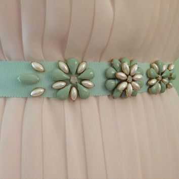 Mint Floral Opaque Stone and Pearl Grosgrain Bridesmaids Beaded Sash